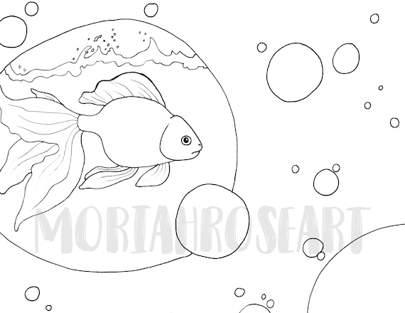 Goldfish Coloring Page | Great for Surrealism Lovers | Digital Download |  Printable