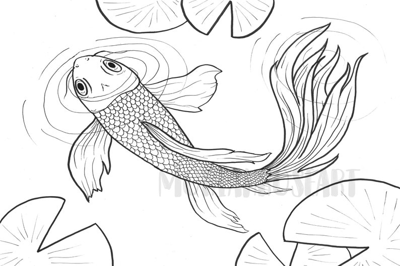 Koi Coloring Page Easy And Simple For Everyone Digital Etsy