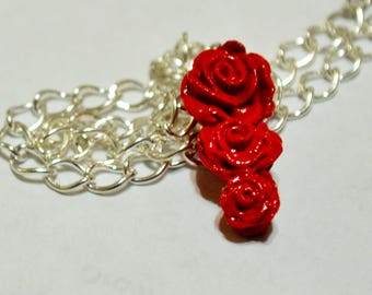 Sculpted Triple Rose Pendant- Red Rose, Silver Rose, Rose necklace, Rose pendant, Pendant, Clay, Valentine, Love, Beauty, Forever