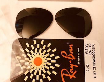 728e4b23969 ... sunglasses b9e23 e3592  hot new old stock 58mm vintage aviator ray ban  lenses green g15 nos bausch lomb usa