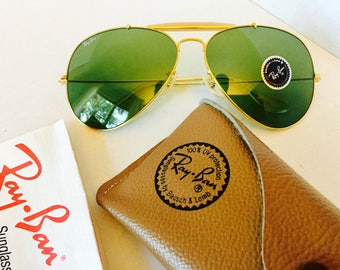d22a0bbc8f vinage Ray Ban green Rb3 bausch lomb usa bl 62mm w case new old stock