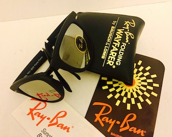 83491e78a83d NEW Vintage Ray Ban Folding Wayfarer Full Mirrored Sunglasses NOS Bausch    Lomb BL Usa 50mm w  case