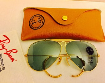 dd235c140d2 vintage new old stock aviator shooter Ray Ban sunglasses gray changeable lenses  bausch lomb usa 62mm
