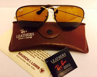 976c0b315f1 NEW vintage aviator leather Ray Ban 58mm usa bl NOS