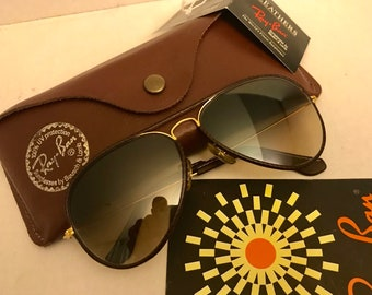c9d6e44000 New Old Stock Vintage Aviator Leather Ray Ban Brown ultra gradient 58mm  Bausch   Lomb BL usa w case NOS VTG