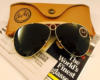 afebf4524eb27 NEW Vintage Aviator Shooter Ray Ban Sunglasses Green G15 Bausch   Lomb usa  62mm W  Case