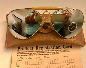 e3b0b745dd New vintage Aviator Sharp Shooter Ray Ban Double Gradient Mirrored DGM gray  Usa Bausch   Lomb BL NOS   case