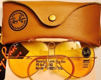 57abe8b10e New vintage Aviator Shooter Ray ban Ambermatic Changeable 62mm Usa BL Bausch  Lomb