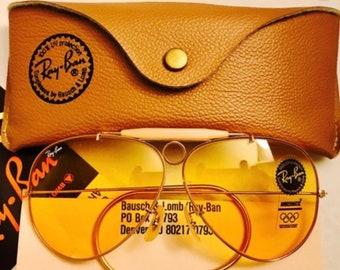 5af7b1574f277 New vintage Aviator Shooter Ray ban Ambermatic Changeable 62mm Usa BL  Bausch Lomb