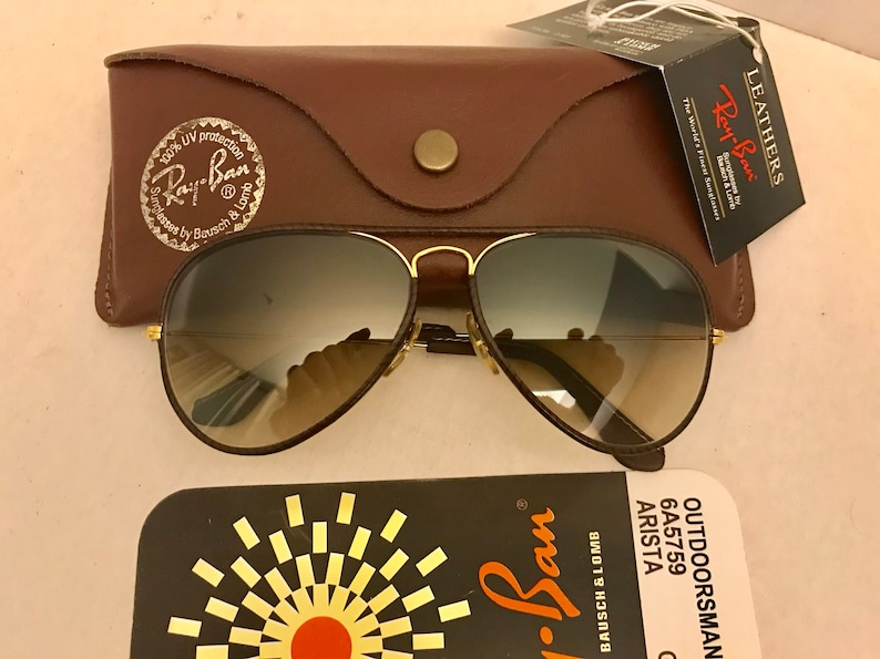 Vintage New Aviator leather Bausch & Lomb Ray Ban Sunglasses Changeable Photochromic 58mm BL W Case VTG NOS