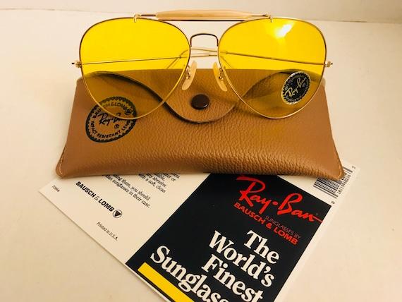 eed742c4f8 NEW vintage Aviator Outdoorsman Ray Ban yellow kalichrome Usa