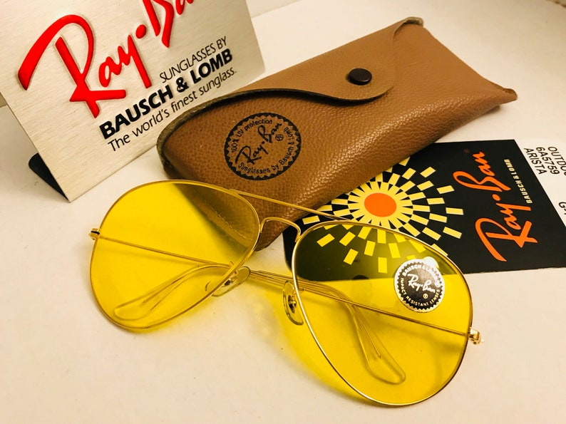 060332420a5b4 NEW Vintage 62mm Aviator Ray Ban yellow kalichrome Sunglasses