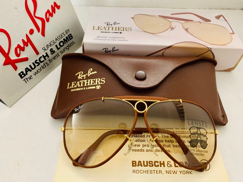 77e45e28d Vintage New 62MM Aviator leather Brown Changeable Photochromic | Etsy