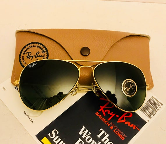 New old stock Vintage Aviator Ray Ban sunglasses Green G15   Etsy 000ae0ad86