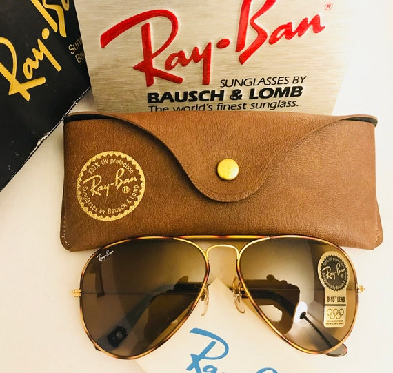 af394b8bfe5 vintage new old Stock Aviator Ray Ban Tortuga Brown B15 58m