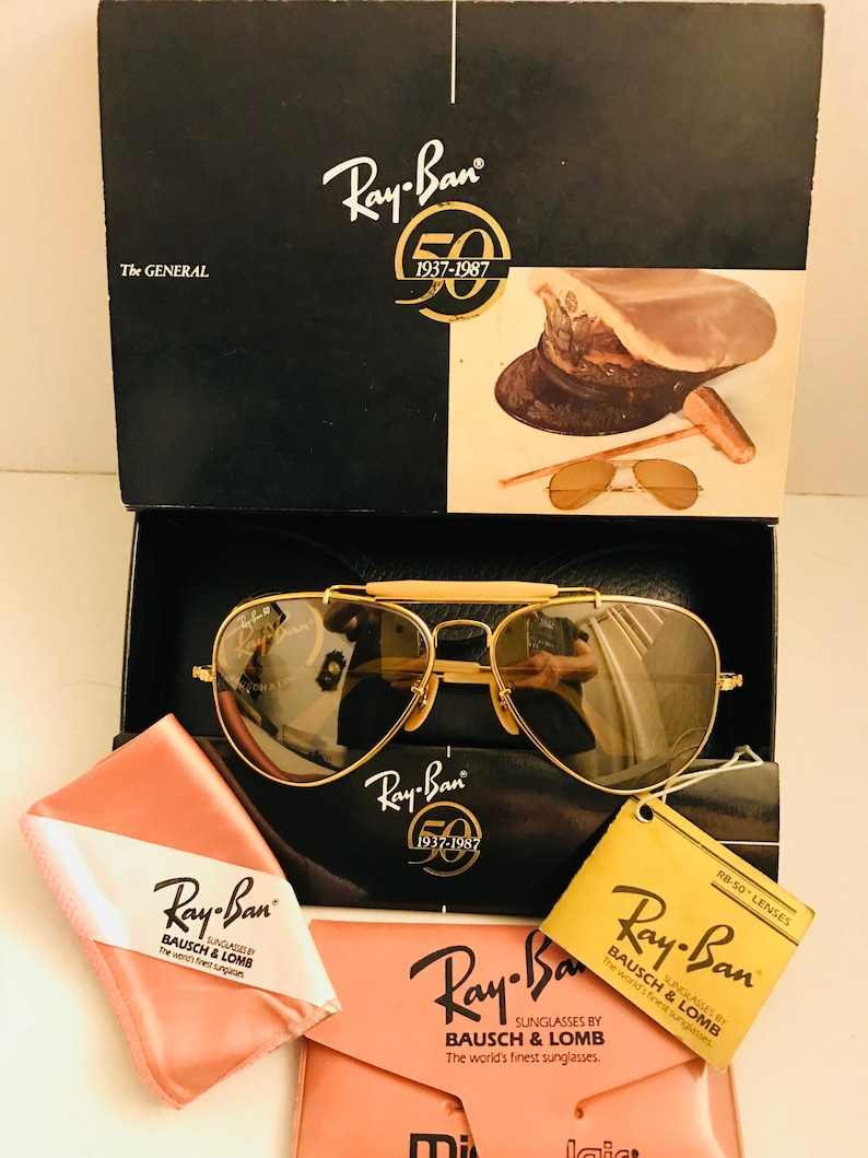 51d9603e34c2 New Vintage 58mm Aviator Outdoorsman Ray Ban 50th Anniversary