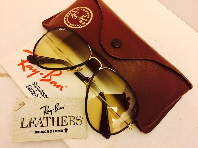 7e28bc60d0 Vintage Aviator leather Bausch   Lomb Ray Ban Sunglasses 58mm BL New W   Case 58... Vintage Aviator leather Bausch   Lomb Ray Ban Sunglasses 58mm BL  New W  ...