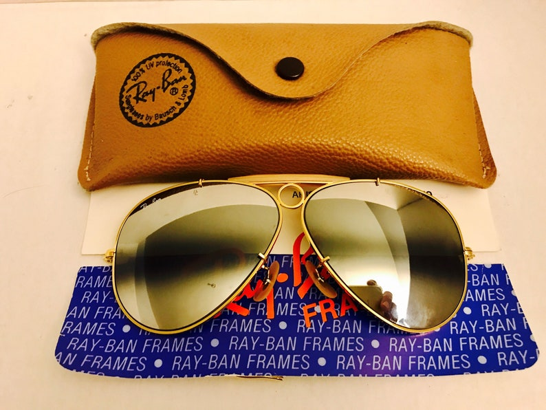 f609ab0f592 New vintage Aviator Shooter Ray Ban Double Gradient Mirrored DGM gray Usa  Bausc... New vintage Aviator Shooter Ray Ban Double Gradient Mirrored DGM  gray Usa ...