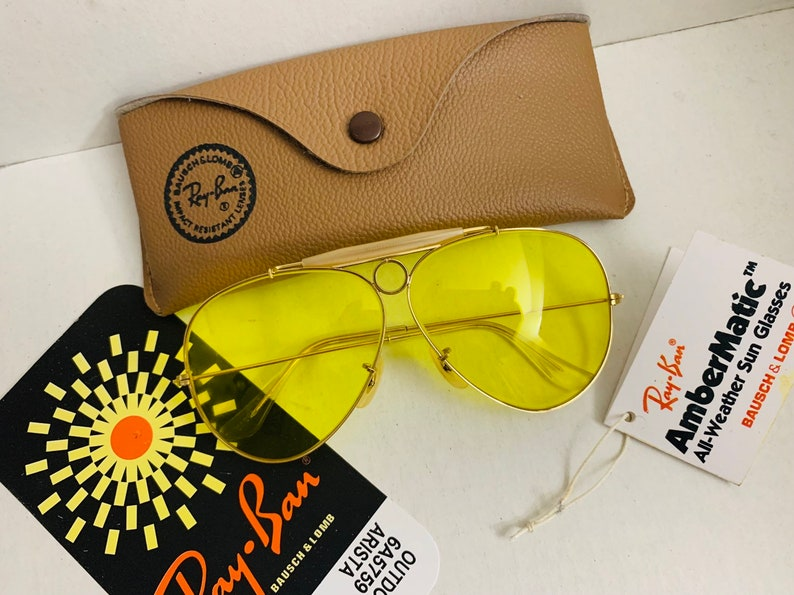 feefd33b60d90 NEW 62mm Vintage Aviator Shooter Ray Ban yellow kalichrome