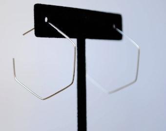 Hexagon Silver-Plated Wire Hoop Earrings