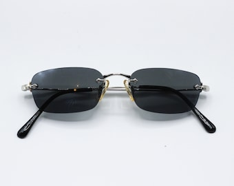 80d124b53d16 Retro square rimless vintage sunglasses