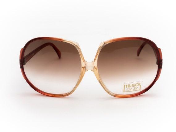 Round Vintage Sunglasses Italian Nilsol   1970's O