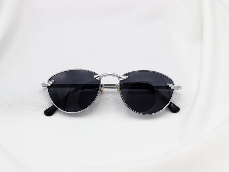 017b84a4f41 Oval Silver Police Sunglasses 1980s Vintage Dark Lens
