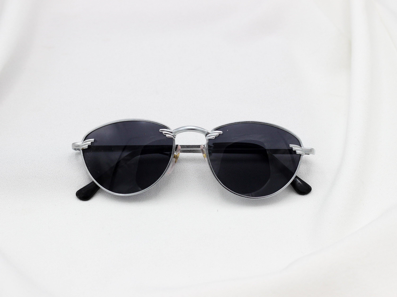 Oval Silver Police Sunglasses 1980s Vintage Dark Lens  bbee4a8f73