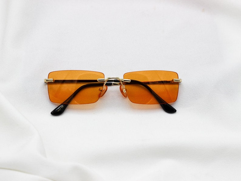 040c33f0ff Square Rimless Vintage Sunglasses tinted orange blue purple