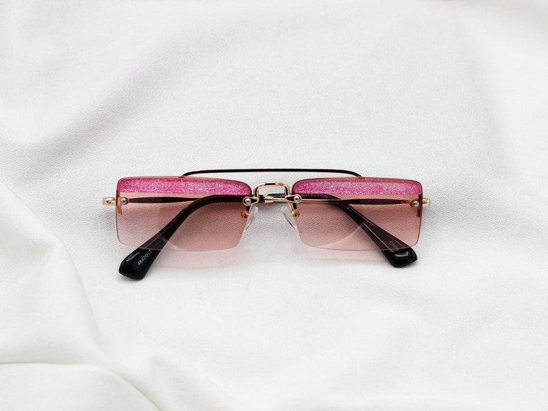 61b2973ada1 Y2k Rimless Square Glitter Sunglasses Frameless tinted lens