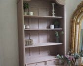 Large french bookcase shelving armoire linen press cupboard in pink