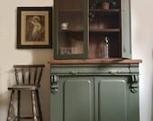 SOLD SOLD Large victorian antique painted bookcase unit cabinet shelves in olive