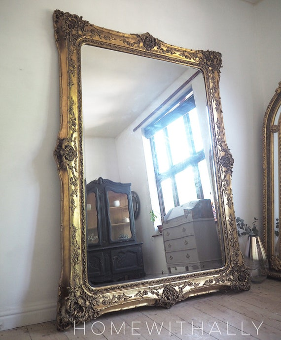 Sold Out Xxl Floorstanding Mirror Freestaning Gilt Framed Gold Etsy