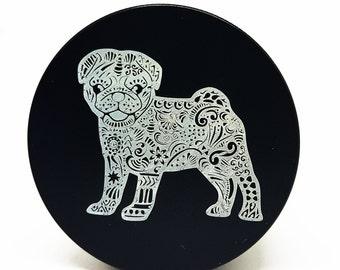"Laser Engraved Premium Herb grinder || Zentangle pug ll  2""  (50MM) 4-piece aluminum"