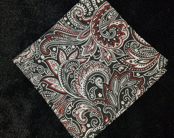 Red, Black and White Paisley Pocket Square