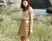 Gold faux leather skirt / Fitted skirt / Ready for delivery