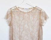 Lace t-shirt / Nude top / Sheer top / See though blouse / Lace top / Romantic top / Loose fit blouse / Lace blouse