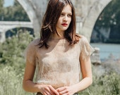 Lace t-shirt / Nude pink lace / Pre-order