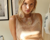Tulle blouse Sheer top with stars Nude pink net Dreamy edgy top