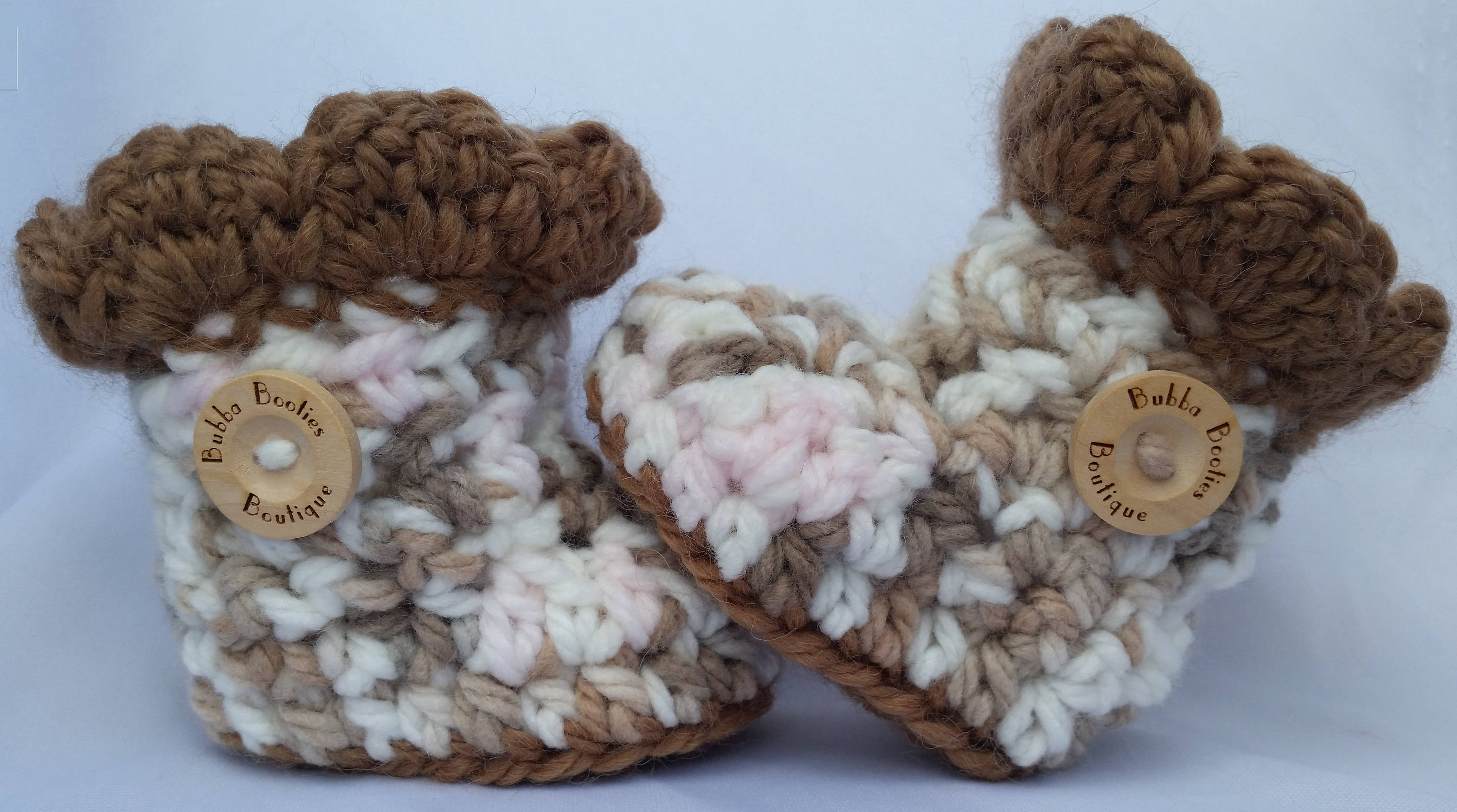 Handcrafted pink, booties brown and white baby booties pink, with brown trims d83ab5