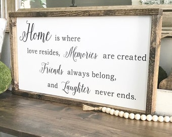 Home is where love resides, Memories are created, Friends always belong and Laughter never ends / Wood Sign / Wall Decor / Farmhouse Sign