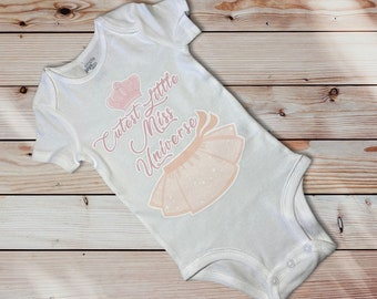 Baby Girl Cutest Little Miss Universe Graphic in White Baby Onesie Ages 3-12 Months 100/% Cotton Soft Limited Quantity