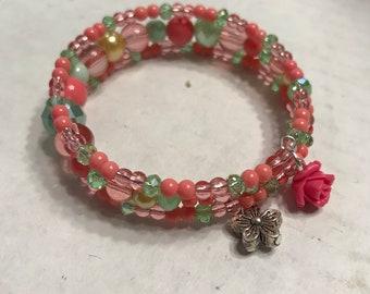 Pink Flower Coil Bracelet