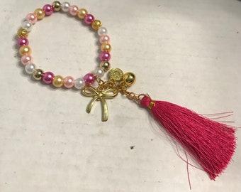Pink Tassel Beaded Bracelet