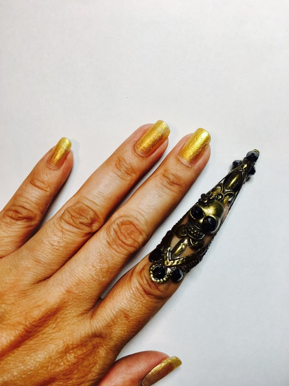 nail ring,thumb claw adjustable. metal ring,silver filigree,clear Crystals,1 pc Crystal claw ring,nail guard,claw