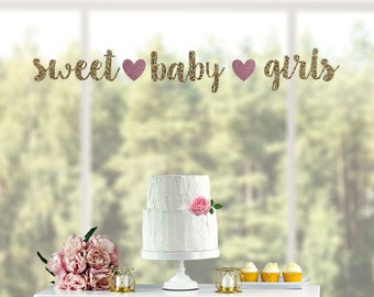Glitter Its Twins Banner-Great for Baby Shower Boy Girl Wedding Anniversary Graduation Retirement Party Decor-Kids Birthday Party Decorations