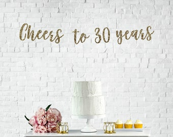 Cheers To 30 Years Banner 30th Birthday Party Anniversary Sign Decor Glitter