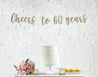 Cheers To 60 Years Banner 60th Birthday Party Anniversary Sign Decor Glitter