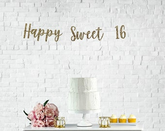 Sweet 16 banner | 16th birthday banner | 16th birthday decorations | 16th birthday party | birthday decorations | birthday party