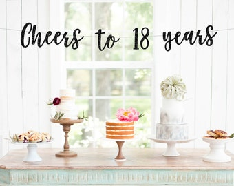 cheers to 18 years banner l 18th Birthday Party Banner | Eighteen | 18th Party Decor | Finally Legal | 18th Birthday Decorations